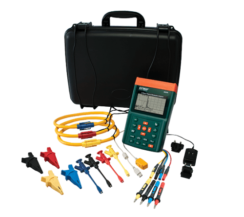 "Extech PQ3350-3 3-Phase Power & Harmonics Analyzer with 3000A 18"" Flexible Current Clamp Probes"