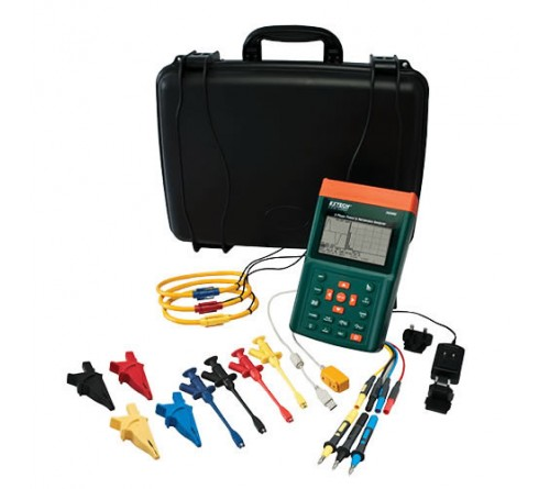"Extech PQ3350-1 3-Phase Power & Harmonics Analyzer with 1200A 12"" Flexible Current Clamp Probes"