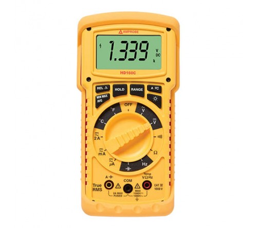Amprobe HD160C True RMS Heavy Duty Multimeter with Temperature, 1500VDC/1000VAC, CAT IV, IP67 Rated