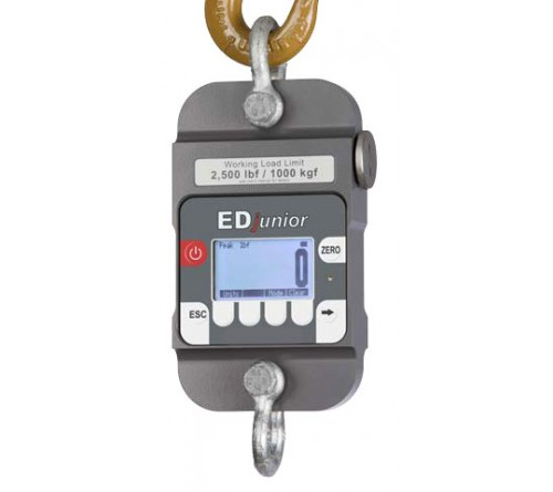 Dillon AWT05-506319 EDjr-5T EDjunior Digital Dynamometer with 2 shackles, 10,000 lbf / 5000 Kg Capacity