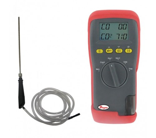 Dwyer 1205A-5 Carbon Monoxide Analyzer with SS Flue Probe, 0 to 2000 ppm