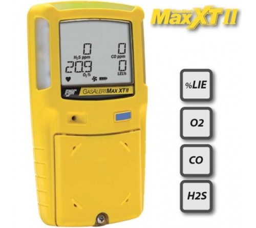 BW GasAlert Max XT II LEL(F) O2 H2S CO Gas Detector (Rechargeable Battery)